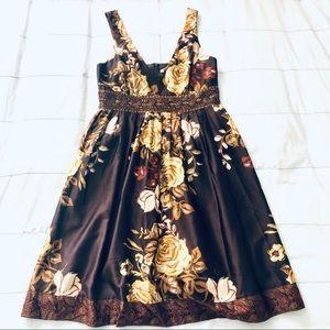 Forever Satiny Beaded Roses Dress